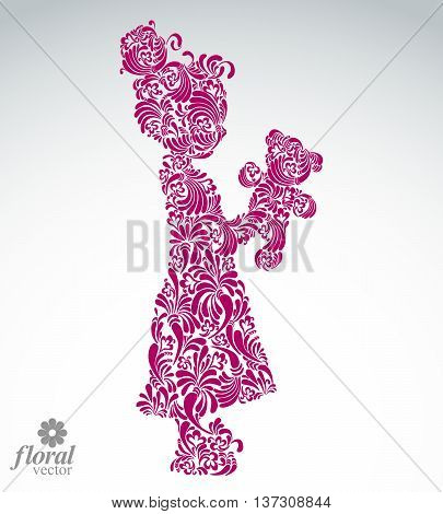 Art illustration of a tiny girl holding a teddy bear. Cute teenage girl wearing a flower-patterned dress. Graphic vector beautiful image of a female.