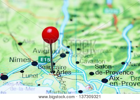 Arles pinned on a map of France