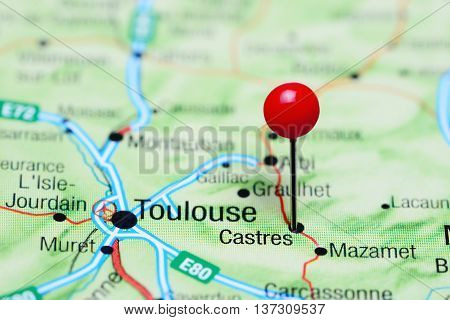 Castres pinned on a map of France