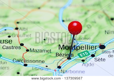 Beziers pinned on a map of France