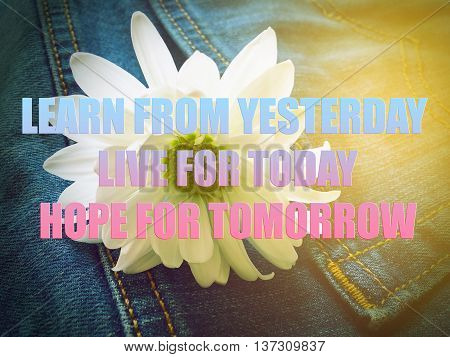 Motivational Quote on flower background - Learn from yesterday live for today hope for tomorrow