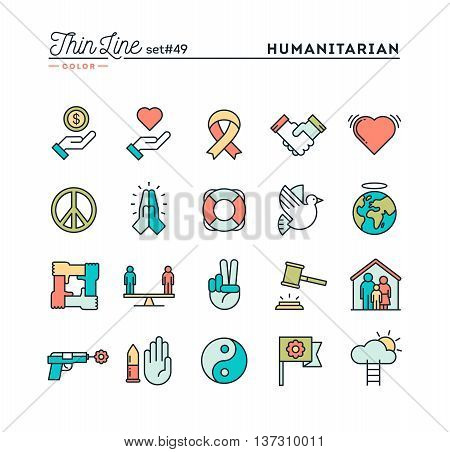 Humanitarian peace justice human rights and more thin line color icons set vector illustration