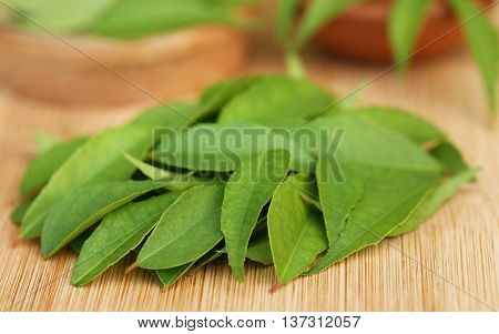 Close up of Curry leaves on wooden surface