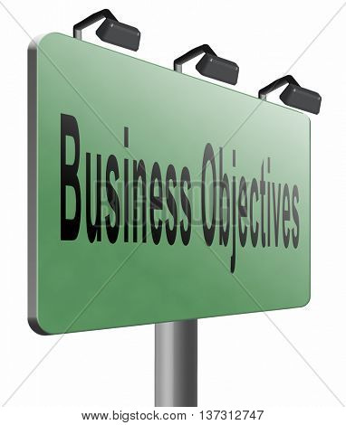 Business Objectives firm statement on vision, mission, values and strategies and strategy planning of a company or business, 3D illustration, isolated, on white