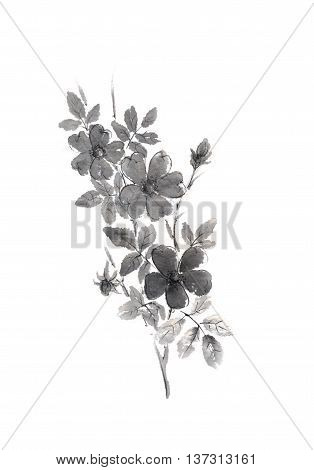 Japanese style original sumi-e dog rose flower and branch ink painting. Great for greeting cards or texture design.