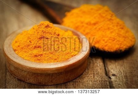 Ground turmeric in a bowl and spon on wooden surface