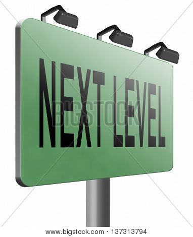 next level in gaming, play game button or icon higher difficult levels, 3D illustration, isolated, on white