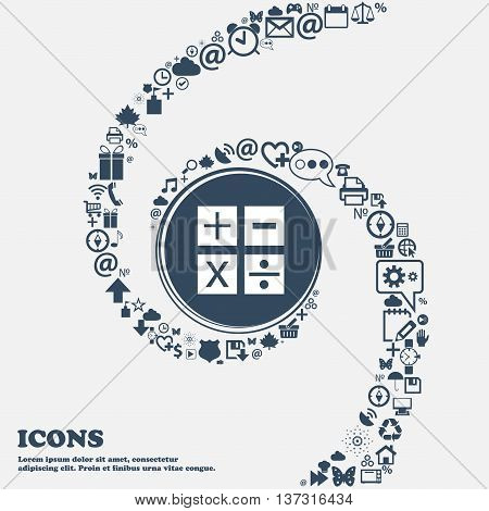 Multiplication, Division, Plus, Minus Icon Math Symbol Mathematics In The Center. Around The Many Be