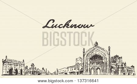 Lucknow skyline vector engraved illustration hand drawn sketch