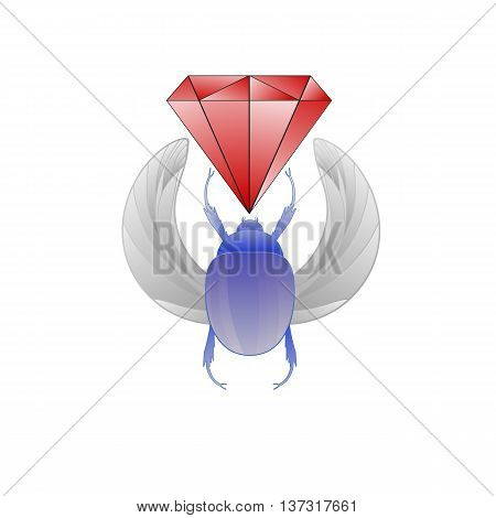 Scarab beetle and Ruby, sketch, symbol of pharaoh, tattoo old school. Vector.