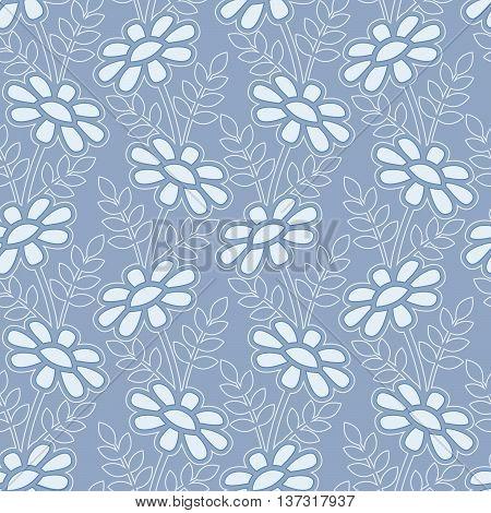 Daisy stylized pattern on the blue background