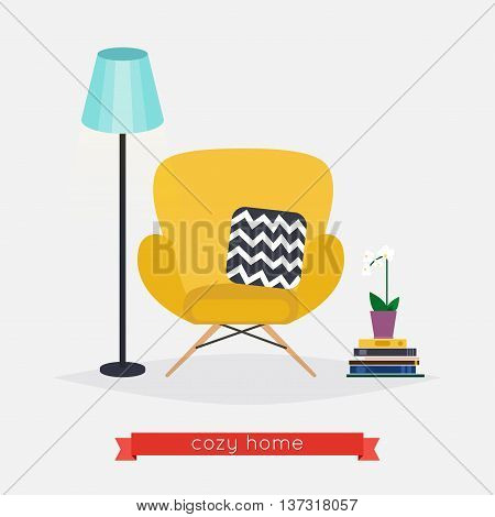 Comfortable Home Armchair And Floor Lamp, Books And Plant. Living Room. Modern Interior Of Room With
