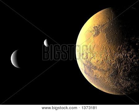 Mars And Its Two Moons
