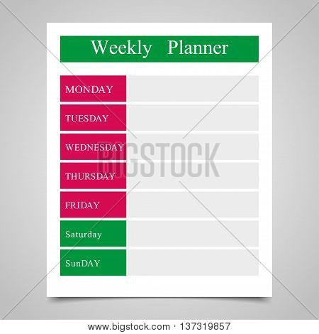 Weekly planner daily planner on a gray background