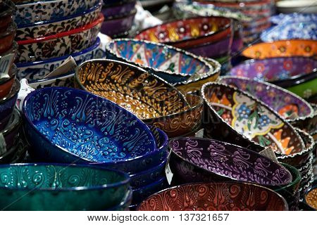 Brass tea sets and serving platters in the Grand Bazaar Kapali carsi in Istanbul, Turkey poster