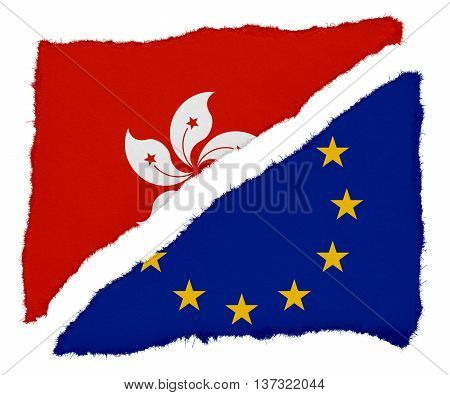 Hong Kongese And Eu Flag Torn Paper Scraps Isolated On White Background