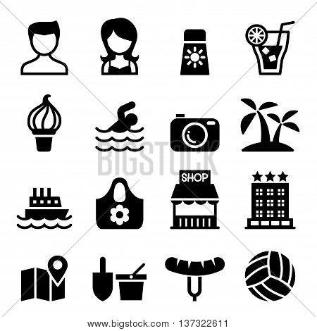Summer icon set Vector illustration Graphic design