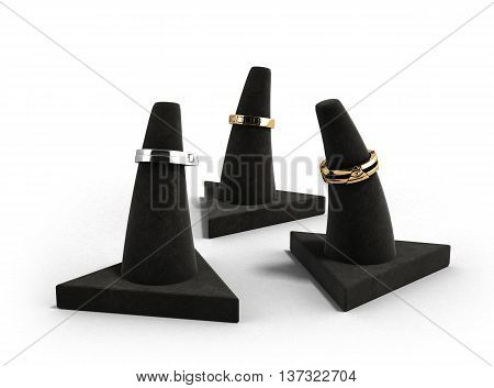 Stand For Gold Rings With Rings On Them On A White Background