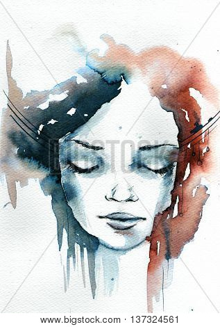 Colorfull watercolor, abstract portrait of a woman