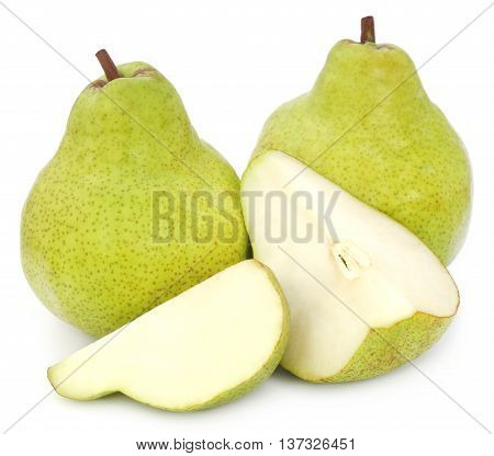 Close up of Fresh pears over white background