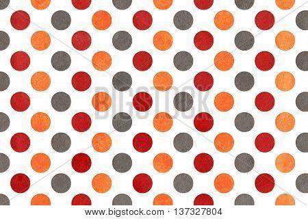 Watercolor Orange, Dark Red And Grey Polka Dot Background.