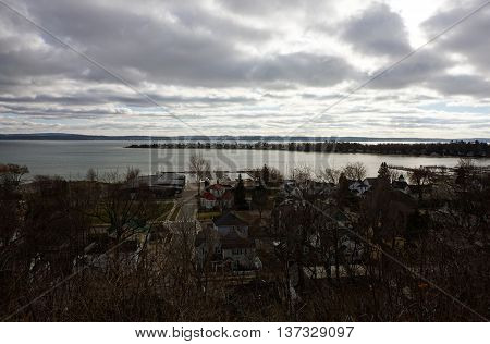 A view of Little Traverse Bay and the Harbor Point Peninsula, seen from the bluff above downtown Harbor Springs, Michigan, on Christmas Day, 2015.