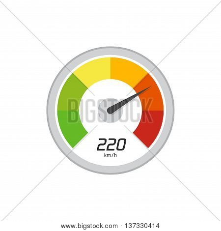 Speedometer vector icon isolated on white background, flat simple speedometer illustration indicating high speed