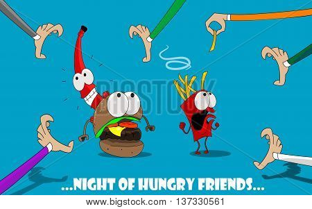 Cute and fun illustration of cartoon burger, potatoes, ketchup, fleeing from hungry people. Banner design for the cafe, menu, fast food. Vector characters