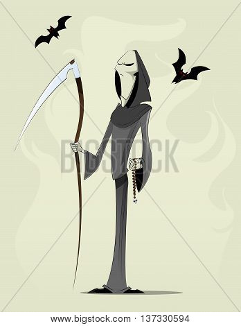 Grim reaper cartoon character with bats isolated on abstract background. Vector layered illustration