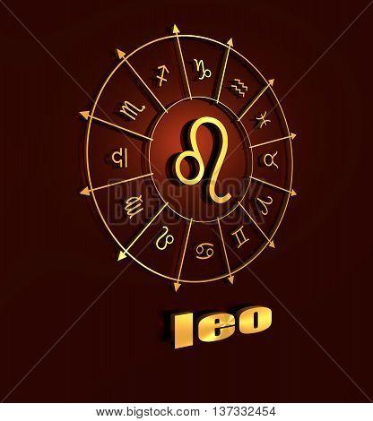 lion astrology sign. Golden astrological symbol. 3D rendering