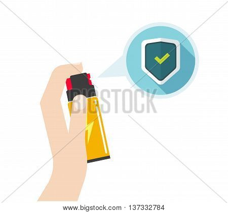 Man hand holding self-defense spray vector illustration, flat icon, self defense pepper bottle, concept of human attack technology, safety equipment, personal security, modern design isolated on white