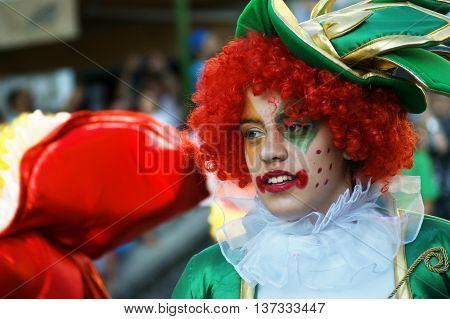 Montenegro, Herceg Novi - 04/06/2016:  Portrait of a clown on a masquerade. 10 International Children's Carnival