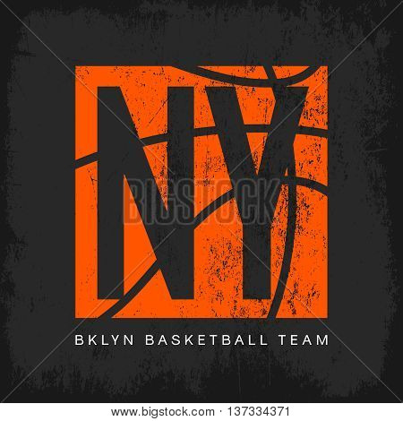 Vintage American basketball old grunge effect tee print vector design.