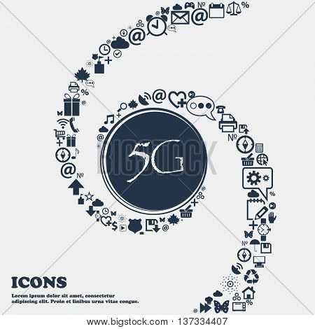 5G Sign Icon. Mobile Telecommunications Technology Symbol In The Center. Around The Many Beautiful S