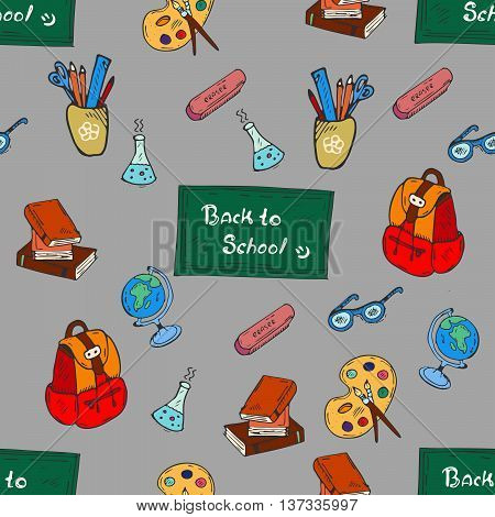School class pattern with school supplies. Vector hand-drawn doodle illustration for schools university kindergarden and classrooms.