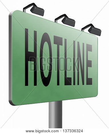 hotline icon call center button or helpline sign for online customer support, 3D illustration, isolated, on white