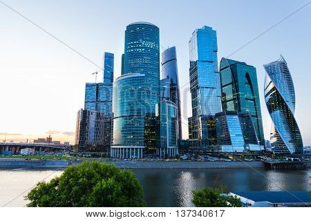 Skyscrapers city international business center Moscow Russia at dusk