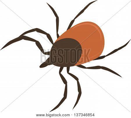 Vector illustration of brown cartoon parasite tick