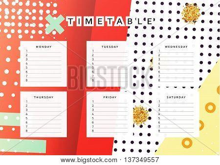 Planner calendar. Schedule the week, abstract design background. Template info organizer. Blank schedule school. Layout sheet planning