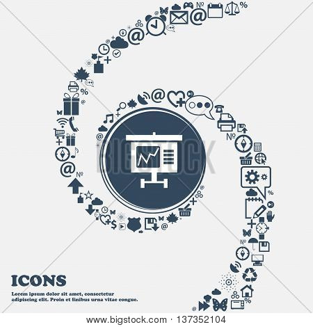 Graph Icon Sign In The Center. Around The Many Beautiful Symbols Twisted In A Spiral. You Can Use Ea