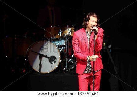 HUNTINGTON, NY-MAR 7: Singer Nasri of the reggae fusion band Magic! performs in concert at The Paramount on March 7, 2015 in Huntington, New York.