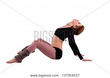 Dancer woman sitting in dance pose, isolated photo