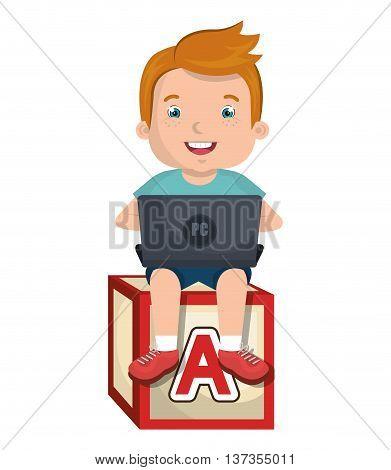 Kid using a laptop sitting on abc block cartoon design, vector illustration.