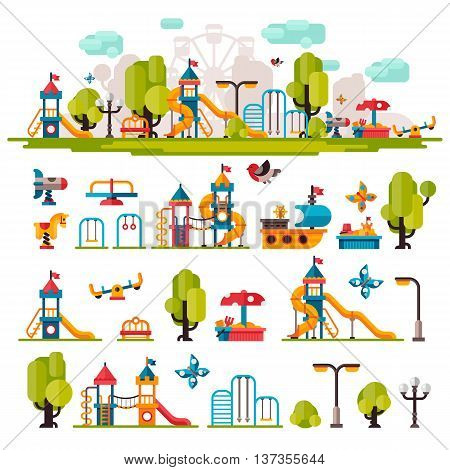 Children playground. Swings sandpit sandbox bench tree children tower children house children slide. Kids playground flat stock illustration with isolated elements on white background.