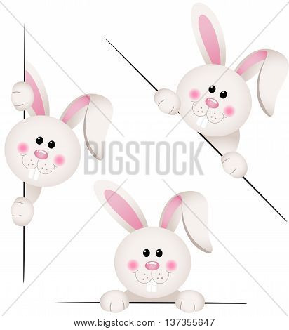 Scalable vectorial image representing a Bunny peeking from behind in various positions, isolated on white.