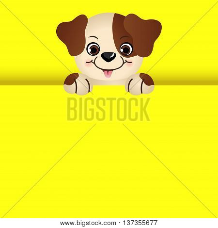 Scalable vectorial image representing a cute dog peeking out.