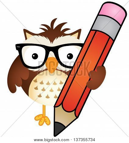 Scalable vectorial image representing a owl with pencil, isolated on white.