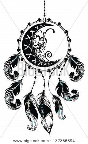 Dream catcher with feathers and moon. Dream catcher