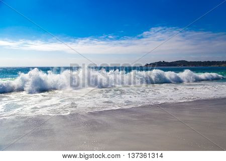 Huge Ocean Waves In Carmel-by-the-sea, In California, Usa