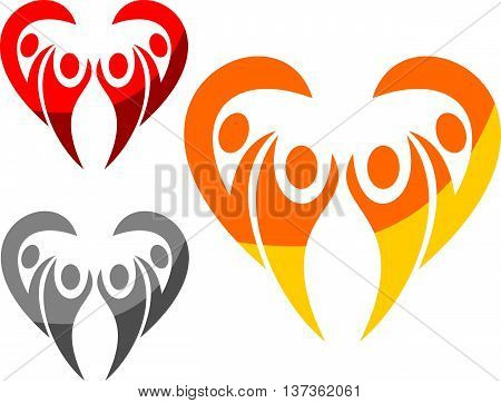 stock logo heart of love happy family life